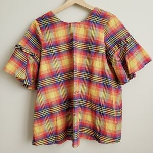 NWT ASOS Rainbow Plaid Ruffle Sleeve Maternity Top